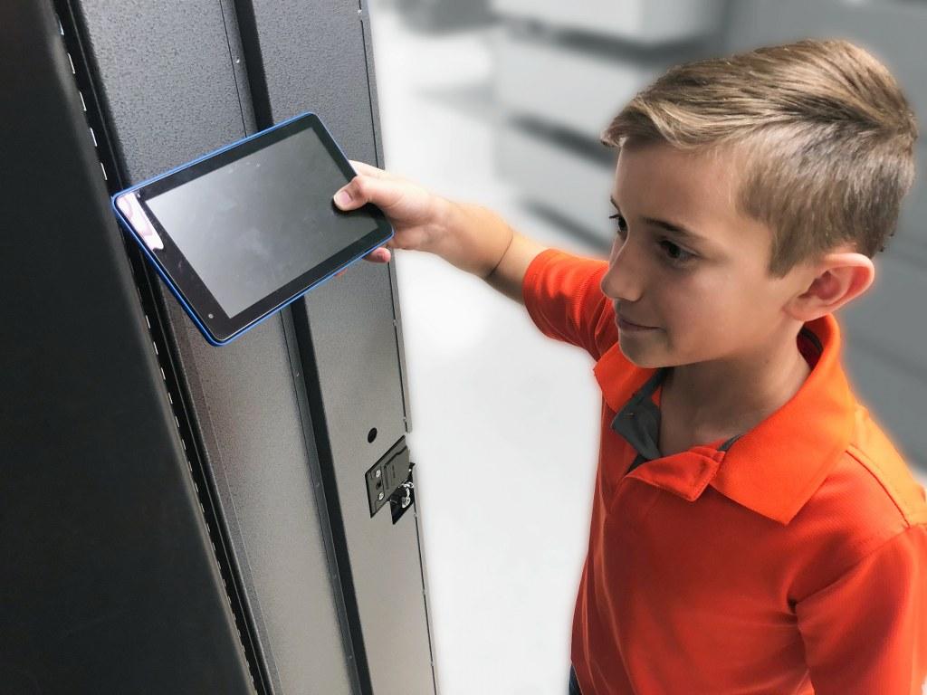 Student Using Access Control Locker