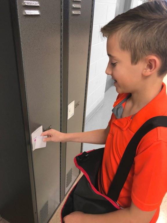 student using intelligent locker